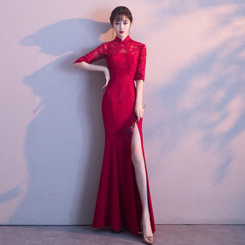 Pengantin baru menikah gaun malam perjamuan roti pakaian (Anggur merah). Source · Gaya